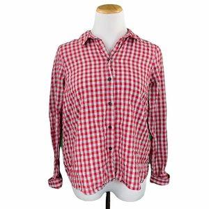 TopShop Red Plaid Cuffed Sleeve Button Down Shirt